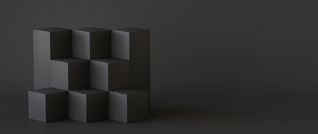 Black cube boxes with dark wall background. 3D rendering. Фото со стока - 121408974