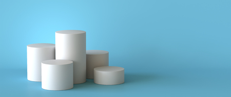 Empty white podium on pastel blue background. 3D rendering.