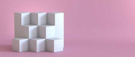 Empty white podium on pastel pink background. 3D rendering.