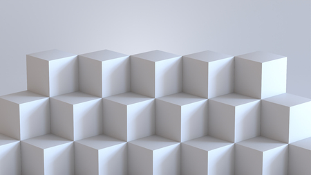 White cube boxes with white blank wall background. 3D rendering.