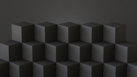 Black cube boxes with dark wall background. 3D rendering. Фото со стока - 121408980