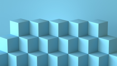 Blue cube boxes with blank wall background. 3D rendering.