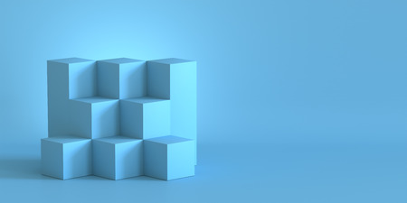 Blue cube boxes with blank wall background. 3D rendering. Фото со стока - 121408982