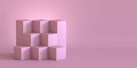 Pink cube boxes with blank wall background. 3D rendering. Фото со стока