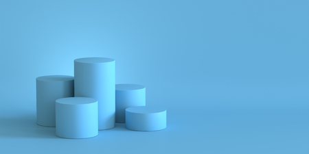 Empty pastel blue podium on blank wall background. 3D rendering. Фото со стока