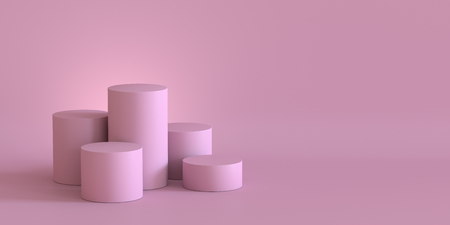 Empty pastel pink podium on blank wall background. 3D rendering. Фото со стока - 121408986
