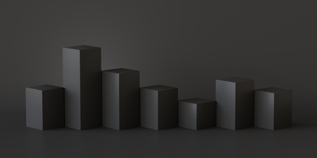 Empty black podium on dark background. 3D rendering.