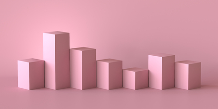 Empty pastel pink podium on blank wall background. 3D rendering. Фото со стока