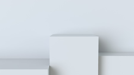 White cube podium on blank wall background. 3D rendering.