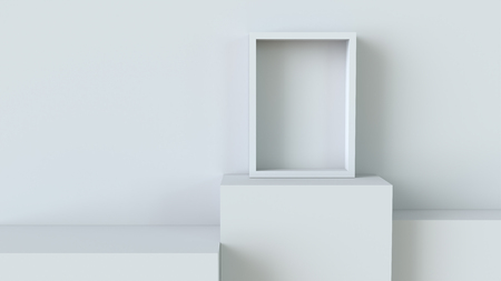 Frame with white cube podium on blank wall background. 3D rendering. Фото со стока
