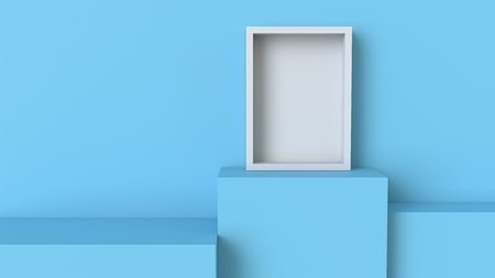 Frame with pastel blue cube podium on blank wall background. 3D rendering.