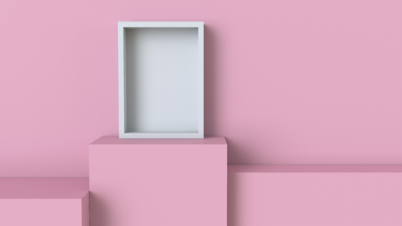 Frame with pastel pink cube podium on blank wall background. 3D rendering. Фото со стока