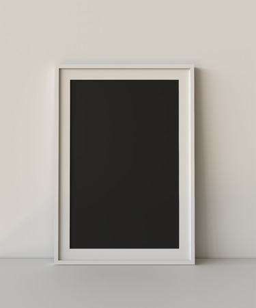 Blank picture frame with table and wall background. 3D rendering. Фото со стока - 121409295