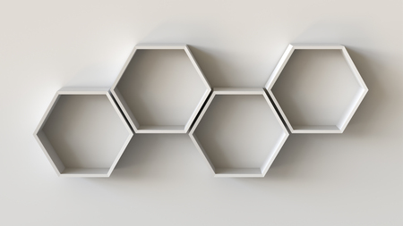 Empty white hexagons shelves on blank wall background. 3D rendering. Фото со стока