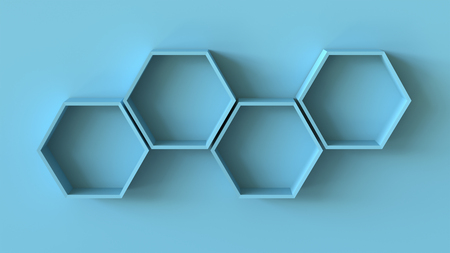 Empty blue hexagons shelves on blank wall background. 3D rendering.