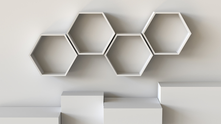 Empty white hexagons shelves and cube box podium on wall background. 3D rendering.