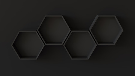 Empty black hexagons shelves on blank wall background. 3D rendering. Фото со стока - 121409311