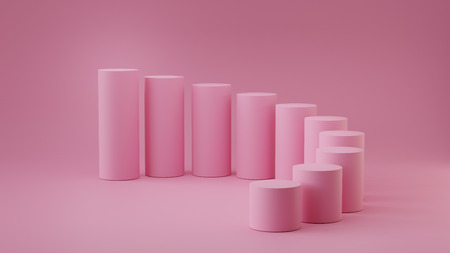 Empty pastel pink steps cylinder on background. 3D rendering. Фото со стока - 121409317