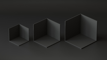 Black cube boxes backdrop display on black background. 3D rendering.