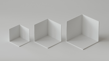 White cube boxes backdrop display on white background. 3D rendering. Фото со стока - 121409350
