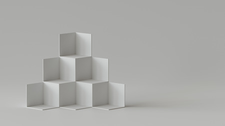 Cube boxes backdrop display on blank wall background. 3D rendering. Фото со стока - 121409359