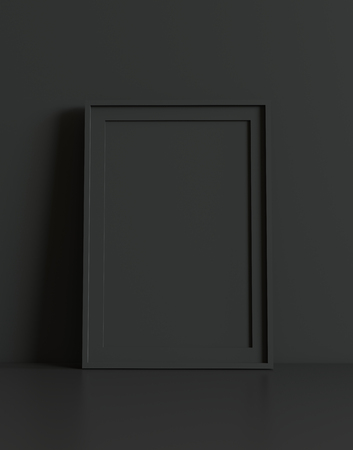 Blank picture frame with table and wall background. 3D rendering. Фото со стока - 121409366