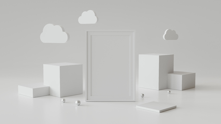 Blank picture frame with cylinder podium. Abstract geometric background for display or mockup. 3D rendering. Фото со стока - 121409617