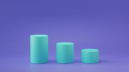 Empty steps cylinder podium on empty background. 3D rendering.