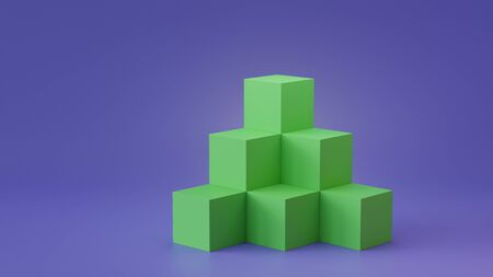 Empty cube boxes backdrop display on blank wall background. 3D rendering. Zdjęcie Seryjne
