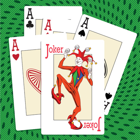 joker playing card: Playing cards - four ases and a joker