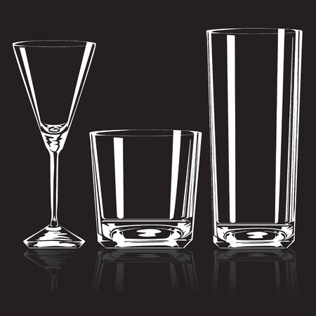 bar ware: Empty glasses for drinks on a black background