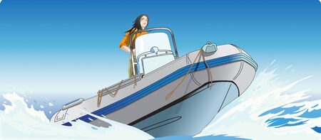 The girl rushing on a fast boat in the high sea.