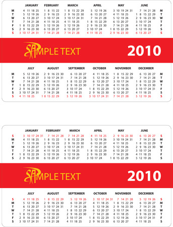 horizontal oriented calendar grid of 2010 year. Monday is first day of week and Sunday is first day of week. Vector