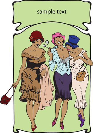 Three going girls of the beginning of 20 centuries