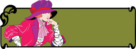 vintage abstract fashion women in style art-nouveau Vector