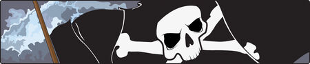 A Black pirate flag with Jolly Roger skull and crossed swords A Black pirate with Jolly Roger skull and crossed swords  Vector
