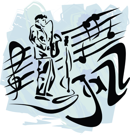 jazz club: vector illustration avec le saxophoniste de style grunge