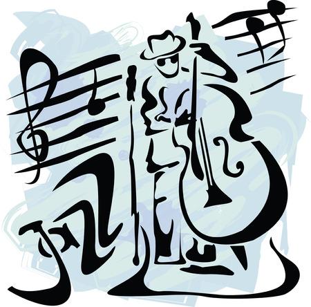 jazz club: illustration vectorielle avec lecteur contrebasse dans le style grunge  Illustration