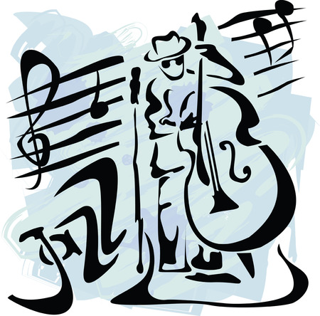 jazz band: vector illustration with contrabass player in grunge style Illustration