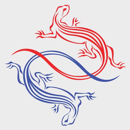 salamandra: Dos lagartos unidos por las colas para tatuaje