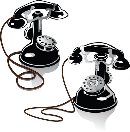 telephone operator: Two ancient phones of the beginning of the twentieth century Illustration