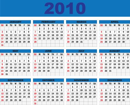 vertical oriented calendar grid of 2010 year Vector