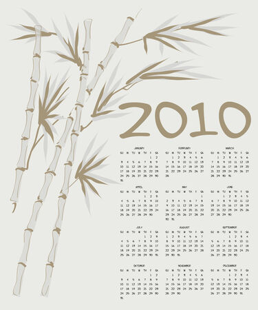 Calendar with bamboo trunks for 2010 Stock Vector - 4509436