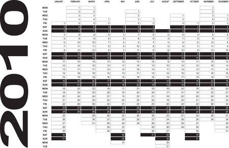 vertical oriented calendar grid of 2010 year Stock Vector - 4509438