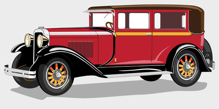 motorized sport: Vector illustration of the ancient car of the beginning of 20 centuries