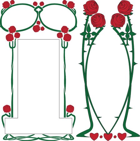 Two vector frameworks from roses in style art-nouveau  Vector