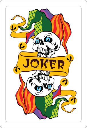joker naipe: Ilustraci�n vectorial de comodines en una carta