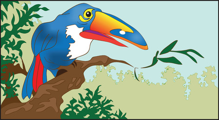 tucan: The southern multi-coloured bird sitting on a branch of a tree Illustration