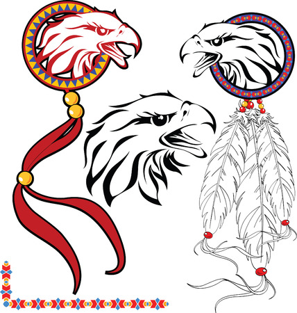 The complete set of colour vector sketches for tattoo Vector