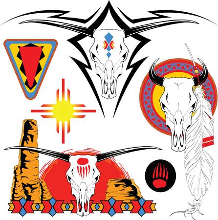 La serie completa di disegni vettoriali a colori per tatuaggio Archivio Fotografico - 4647629